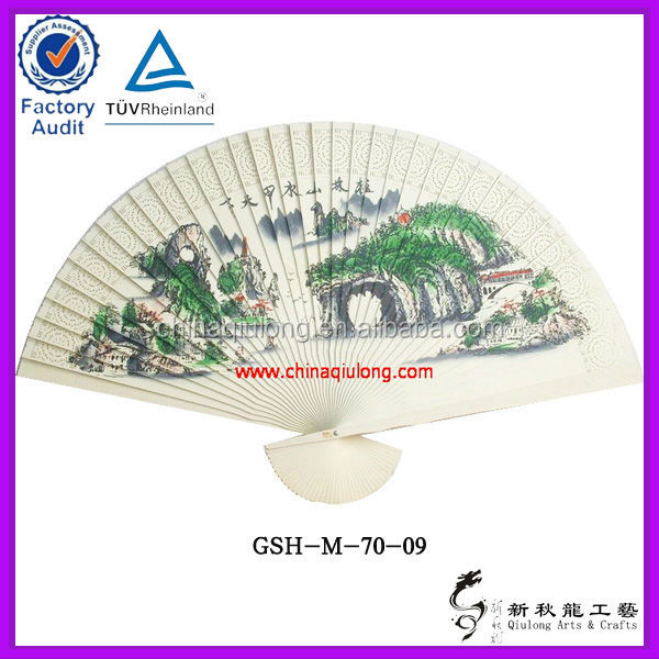 wall hanging craft bamboo fan paper surface customise design