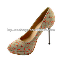 2014 Beautiful dress shoes women high heel fashion wedding shoe rhinestone wedding shoes with slim heel