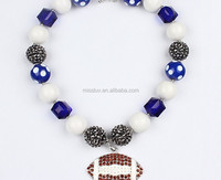 Little NFL football necklace,fashion child girls necklace via chunky colored beads