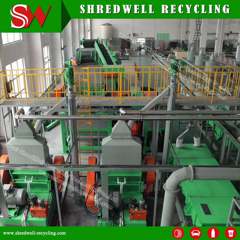 Large Capacity Used Tire Cusher Machinery For Wire Free Rubber Mulch Production