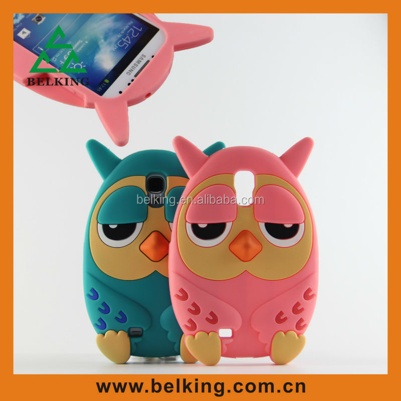 Hot 3D Cute Forest Animal Owl Silicon Rubber Cover For S4 Case