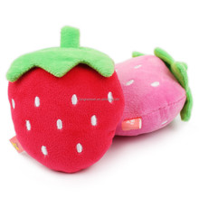 Plush Strawberry Soft Pet Squeaky Chew Toy for Puppy Dog