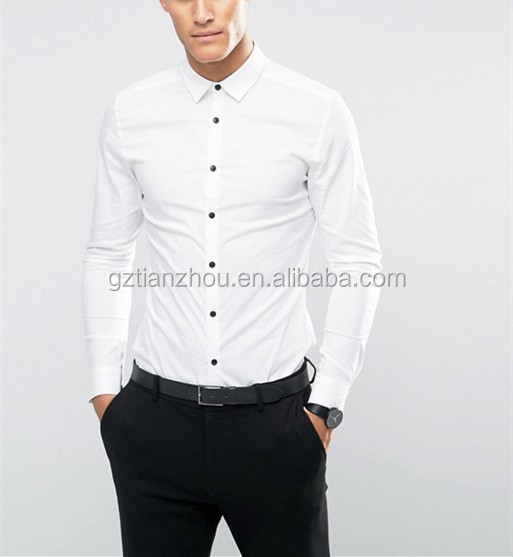 Hot Sale High Quality Super Fit White Shirt Fashion Men Dress Shirt With Contrast Buttons