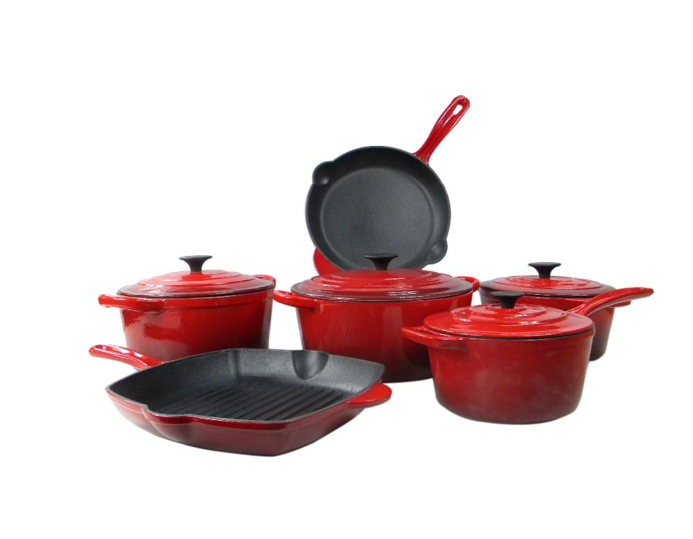 10pcs Enamel Cast Iron Round Casserole Cast Iron Cookware