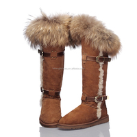 australia sheepskin upper high quality faux fur TPR sole cozy fur hairy women snow boots
