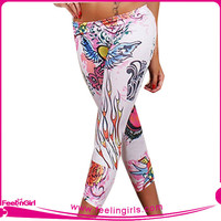 Wholesale White Ground Tattoo Leggings for Women