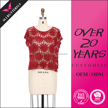 fashion red ladies tops and blouses hand embroidery designs for blouses