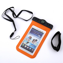 Top quality PVC durable armband phone case with waterproof compass bag for below 6 inch mobile phone