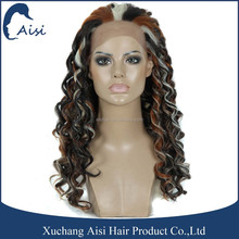 Three Tone Color Afro Wave Synthetic Lacefront Wig High Temperature Fiber Lace Closure for Black Woman