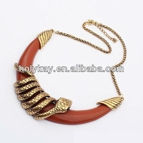Half-moon tribal necklace,Gold snake talisman jewelry necklace,Indian large costume gold jewelry necklace