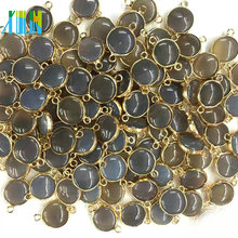 Gold Plate Edged Natural Small Coin Shape Agate Bead Double Bail Connector Jewelry Making Charms