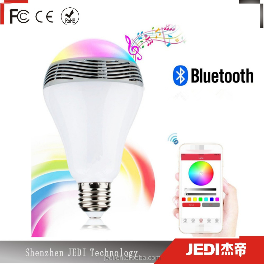 New bluetooth smart light bulb E27 led lampe with colorful dimmable speaker and remote control_MO3703