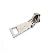 Wholesale custom silver engraved logo metal bags zipper puller for garments