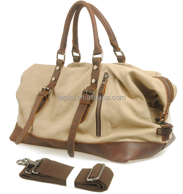 Top quality fashion mens canvas tote bag leather handle canvas duffle bag