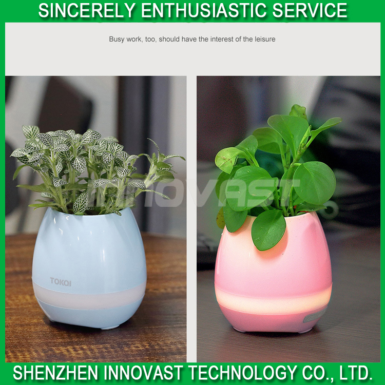 Smart Music LED light plastic Flower Pot With Bluetooth Speaker