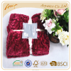 100% polyester china brush flower polyester faux fur blanket