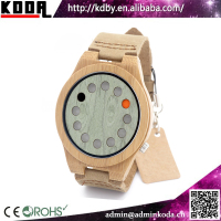 new fashion dial design with 12 holes time display leather bamboo wood watch 2016