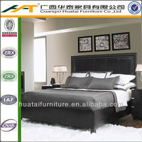 king headboard postmodern Horizon real leather solid wood double bed Marriage bed bedroom furniture bed