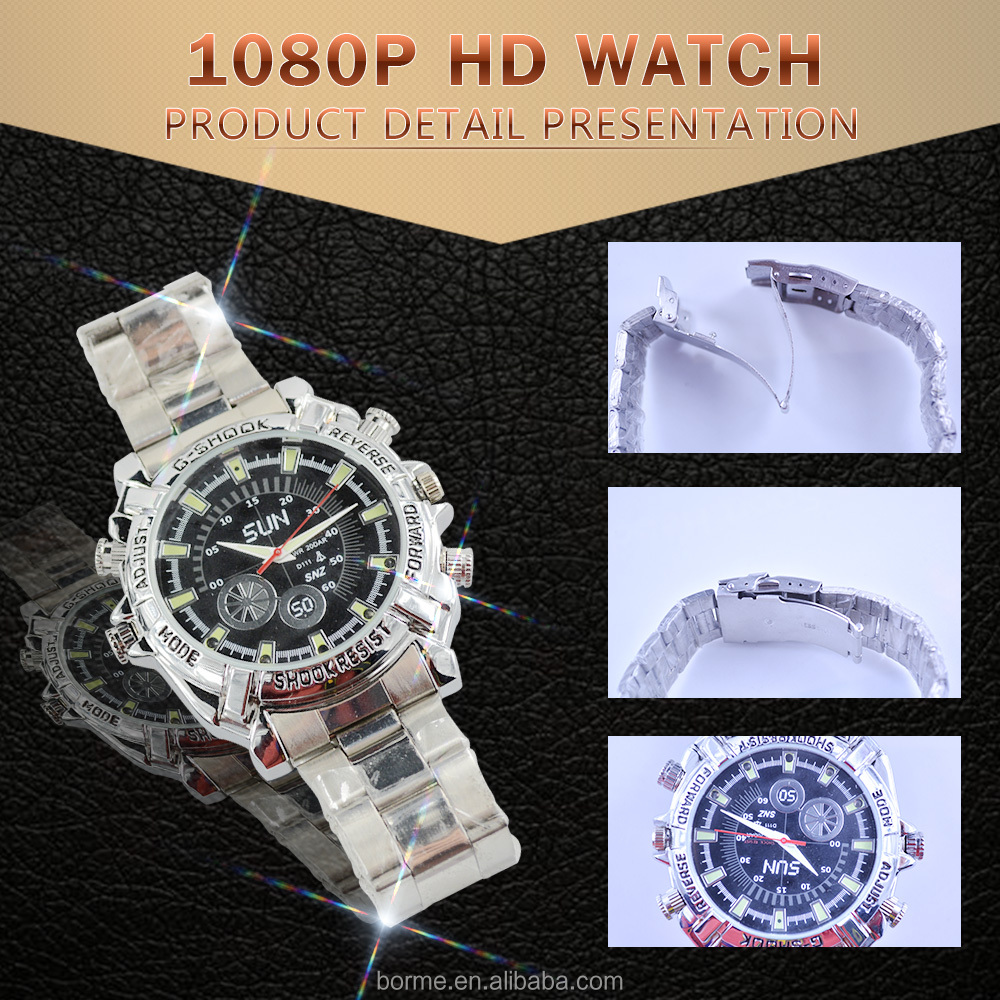 Multifunctional Fashion style Men's professional Waterproof Watch HD 1080P Camera