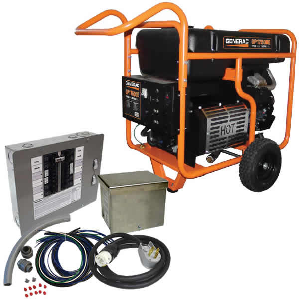 Generac GP17500E - 17500 Watt Electric Start Portable Generator w/ Power Transfer Kit