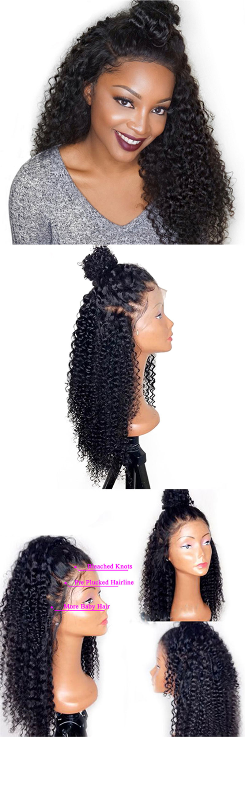 Pre-Plucked Kinky Curly Glueless Lace Front Wig 100% Virgin Brazilian Human Hair Wig With Baby Hair For Black Women