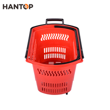 supermarket 45 liters volume plastic trolley baskets with wheels HAN-TB03 3728
