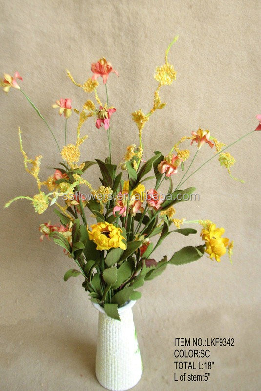 "2015 spring New decorative Artificial Flower 18"" with leaves grass stem"