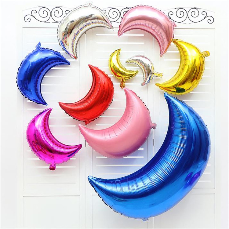 New design party plain color moon birthday wedding Aluminum balloon kids toys scene layout opening celebration festival balloon