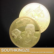 Michael Jackson the king of Pop shiny gold die casting challenge coin