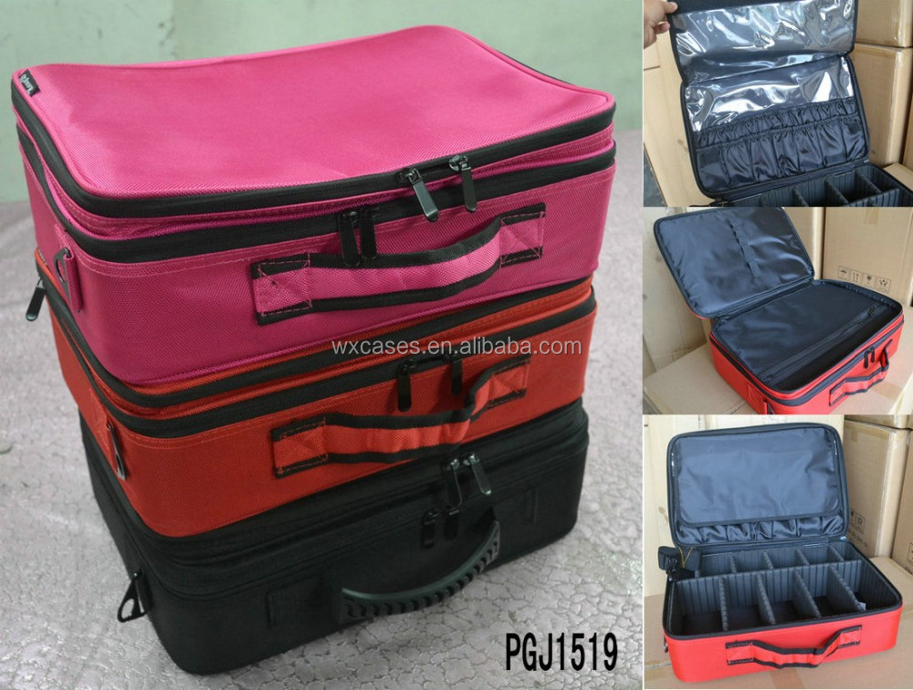 Spot goods--waterproof durable nylon makeup tool bag with strong plastic frame,different colors are available
