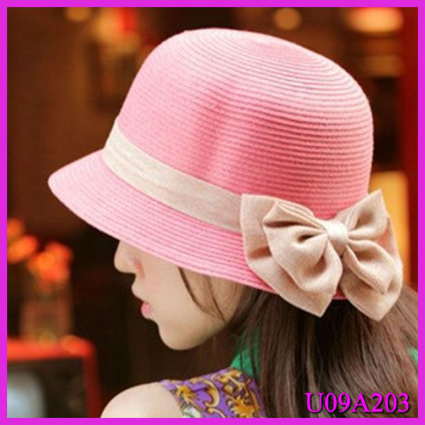 Girls pink summer wholesale straw hats with double bowknot