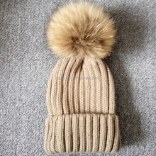 pom pom hats real fur baby boy beanie caps winter knitted hat