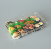 disposable plastic clamshell transparent take away japanese frozen seafood salmon food tray,fresh sushi box
