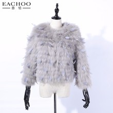 EACHOO Fashion Winter Women Featured Natural Real Chinchilla Rabbit Fur coat