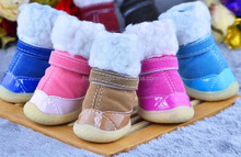2015 new arrival pet accessories dogs winter snow boot ,high quality pet warm shoes with fur