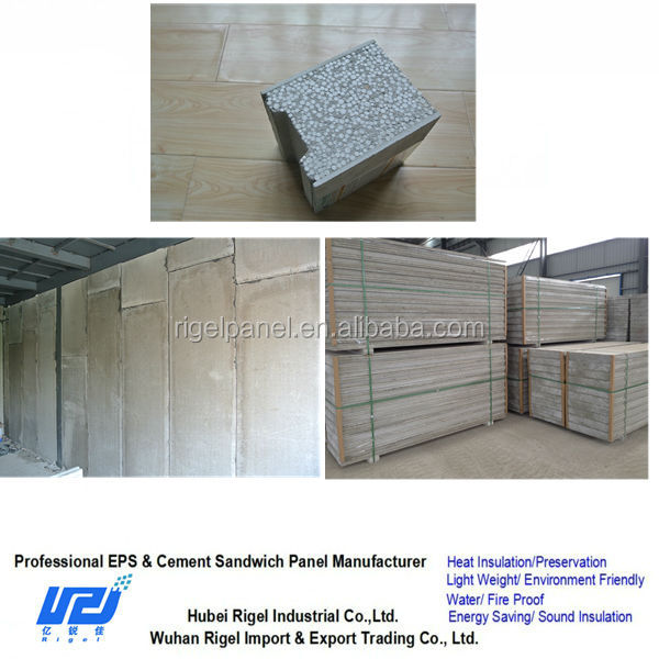 Easily cut high effeciency eps cement sandwich waterproof noise reduction wall panel for building