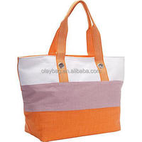 2015 Popular Customized cotton canvas supermarket bag beach value tote with tri-tone wide stripe promotion tote bags 86002