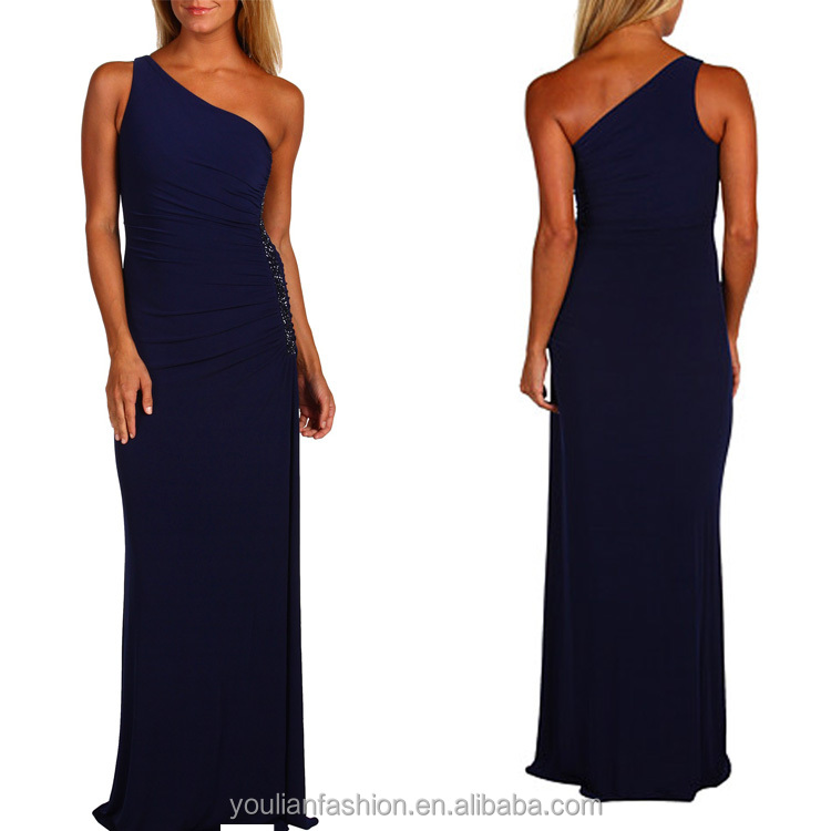 Wholesale new fashion american style clothing ladies one shoulder chiffon maxi dresses
