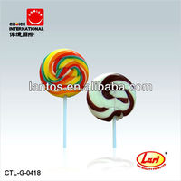 LARI BRAND 15g colourful round swirl flat lollipop candy