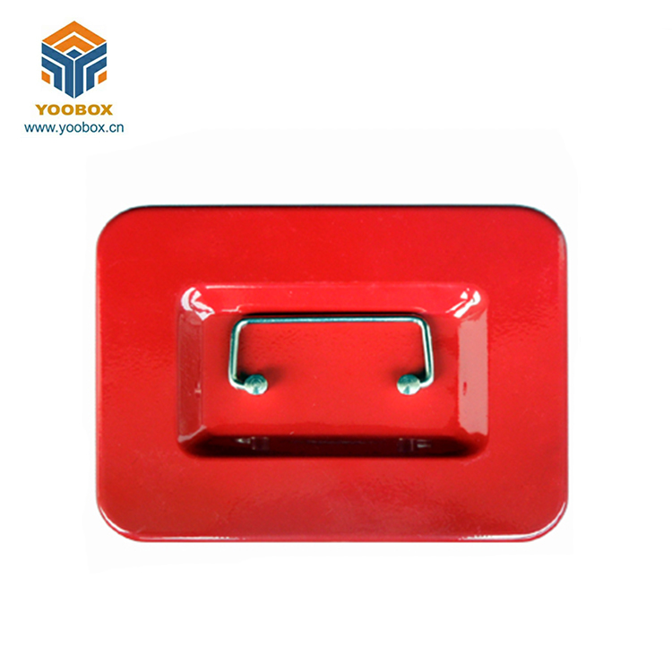 Portable Handle Colour Metal Key Lock Cash Box With Coin Tray