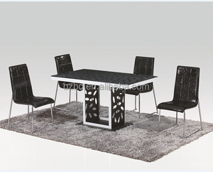2018 Modern Italian Style Tempered Glass Dining Table With 6 Chairs Set