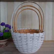 Heavy Duty Woven Wooden Hanging Storage Baskets For Harvest