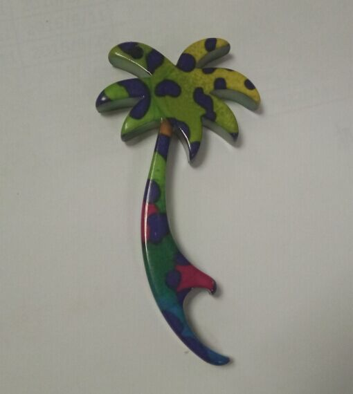 Decal Print Coconut Tree Shape Aluminum Bottle Opener Keychain