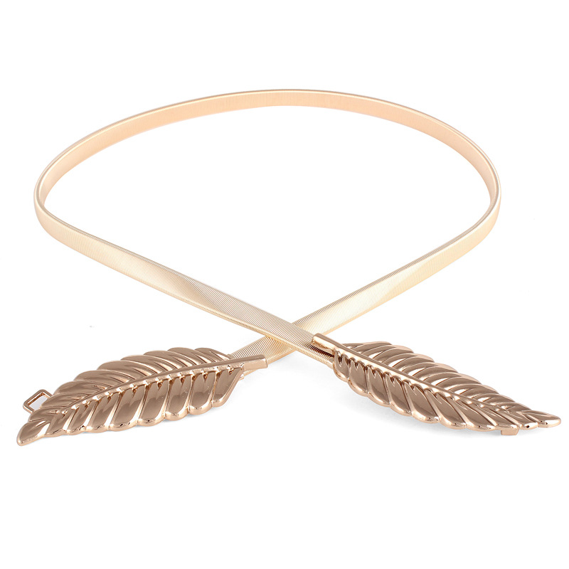 ZH2595A European metal leaf dress belt female thin elastic stretch belt