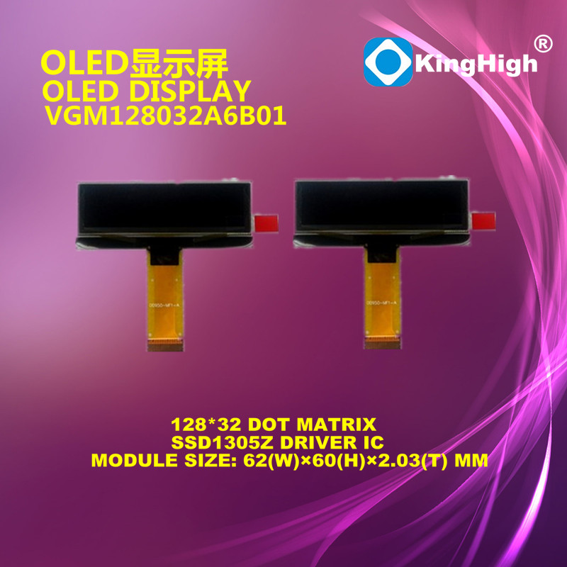 OLED module 128x32 dots with Blue Display Color 6800/8080/SPI/I2C interface OLED display