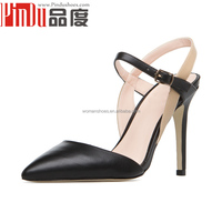 Black leahter womens high heels sandals china manufacturer latest sandals designs ladies fancy high heels sandals