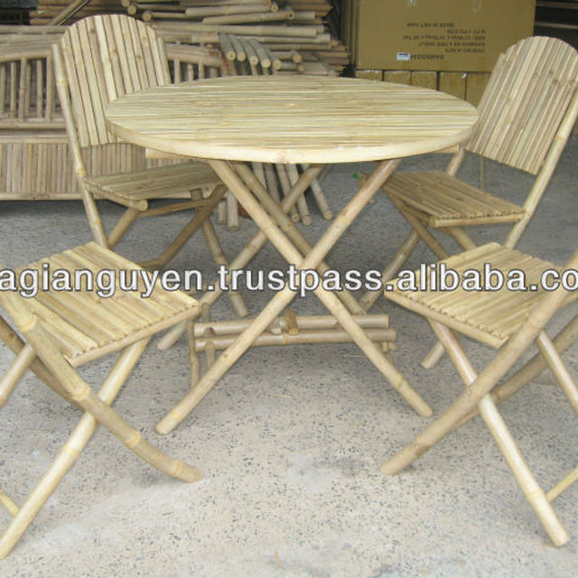 CHEAP BAMBOO TABLE CHAIR SET