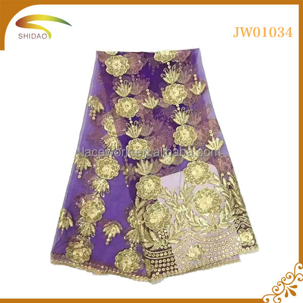 Wholesale Purple African floral sequins embroidery tulle lace fabric for evening dress