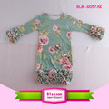 New Floral Knit Triple Icing Ruffle Bottom Christening Gowns Elastic Hem Long Sleeve Icing Ruffle Raglan Gown Baby
