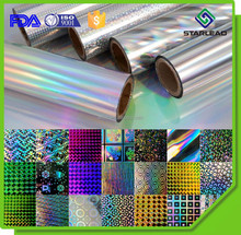 Wonderful seamless metallized pet holographic film, metallic polyester laser film